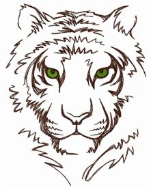 White tiger machine embroidery design
