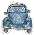 Blue car sketch embroidery design