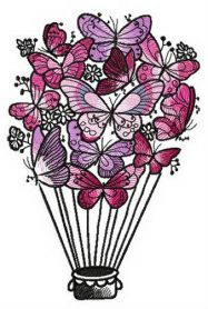 Butterfly hot air balloon machine embroidery design