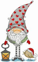 Gnome in phrygian cap with hearts holding lantern