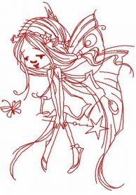 redwork fairy with magic wand embroidery design