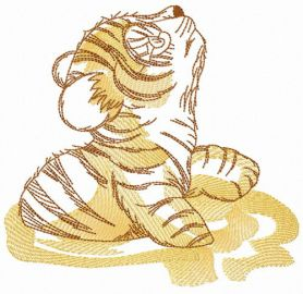 Little tiger in mud machine embroidery design
