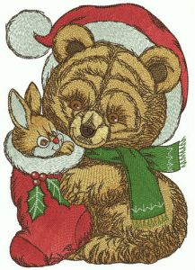 Retro teddy bear in Santa hat