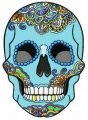 Rainbow skull embroidery design