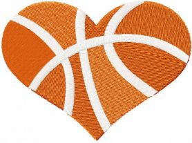 Basketball heart free embroidery design
