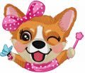 Corgi party time embroidery design