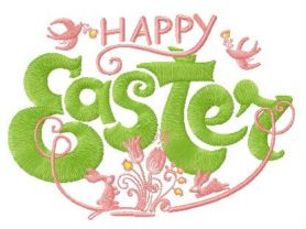 Happy Easter composition machine embroidery design
