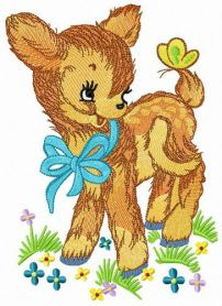 Kind fawn machine embroidery design
