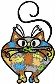 Patches cat machine embroidery design