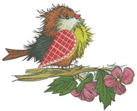 European robin with pink flowers machine embroidery design