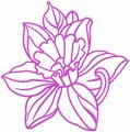 Pink contour lily free embroidery design
