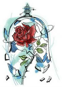 Rose breaks dome machine embroidery design