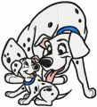 Two dogs embroidery design