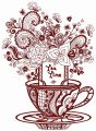 Tea time post card 2 embroidery design