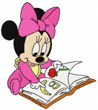 Baby Minnie Mouse reading a book