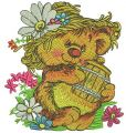 Rustic bear with honey pot embroidery design