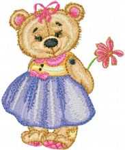 Old Toys Girl Teddy Bear with Flower