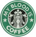My blood is coffee embroidery design