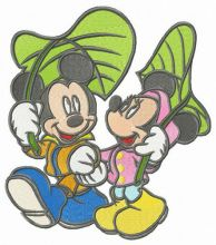 Mickey and Minnie walking under leaf umbrellas