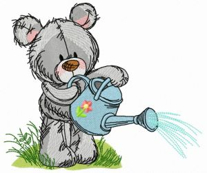 Teddy bear with watering can 8