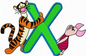 Tigger Piglet alphabet letter x machine embroidery design