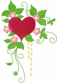 Flowers heart free embroidery design