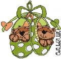 Two cute teddies embroidery design