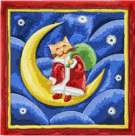 Christmas Cat on the moon machine embroidery design