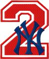 NY Yankees number two with logo embroidery design
