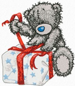 Teddy Bear Christmas coming soon machine embroidery design