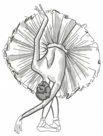 Graceful ballet dance sketch machine embroidery design