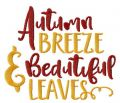 Autumn breeze and beautiful leaves embroidery design