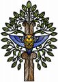Mystical owl tree embroidery design