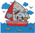 Bunny's boat trip embroidery design