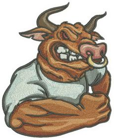 Angry bull machine embroidery design