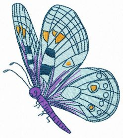 Friendly butterfly machine embroidery design