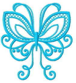 Blue swirl butterfly machine embroidery design