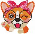 Corgi waving paw embroidery design