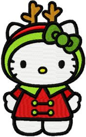 Hello Kitty Christmas Costume machine embroidery design
