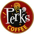 Perks coffee shop logo embroidery design