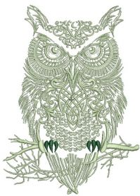 Tribal owl 2 machine embroidery design