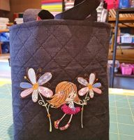 Shopping bag with tiny girl embroidery design