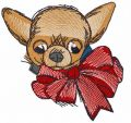 Chihuahua with bow embroidery design