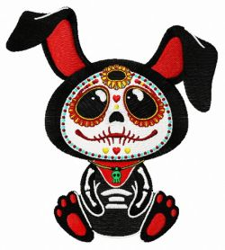 Skeleton bunny machine embroidery design