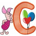 Piglet letter C free machine embroidery design