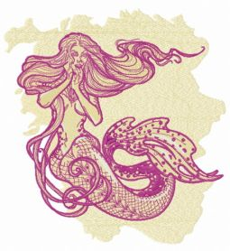 Surpised mermaid machine embroidery design