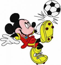 Mickey like soccer machine embroidery design