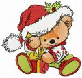 Santa's gift for teddy bear embroidery design
