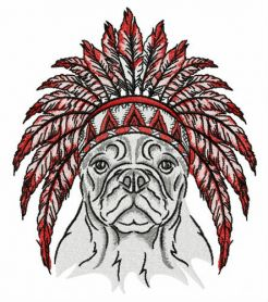 Bulldog with warbonnet machine embroidery design