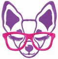 Chihuahua with pink glasses free machine embroidery design
